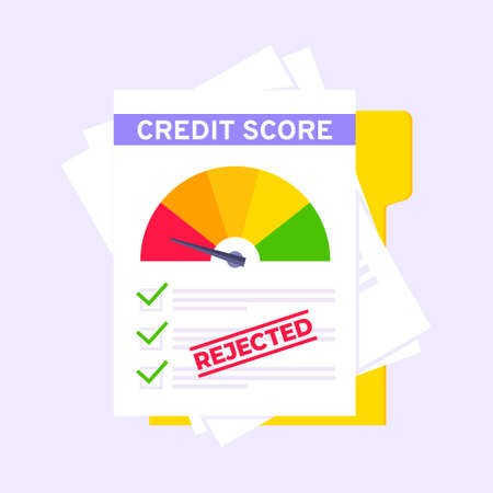 Rejected credit score gauge speedometer indicator with color levels on paper sheets and file. Measurement from poor to excellent rating for credit or mortgage loans flat style vector illustration. 向量圖像