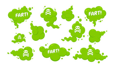 Smelling green cartoon fart cloud flat style design vector illustration with text fart set. Bad stink or toxic aroma cartoon smoke cloud isolated on white background.