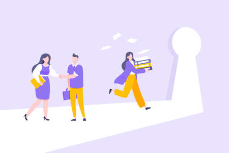 Business key opportunity concept with keyhole and ambitious person running to career potential. work financial success flat style vector illustration. New way business beginnings and unlock future.