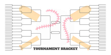 64 team tournament bracket championship template flat style design vector illustration isolated on white background. Championship bracket schedule for baseball game.