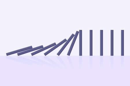 Domino effect business concept. Line in a row of falling board game blocks of dominoes flat style vector illustration. Business bankruptcy or crisis, risk chain reaction and finding solution metaphor.