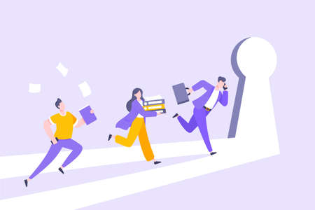 Business key opportunity concept with keyhole and ambitious people running to career potential and work financial success flat style vector illustration. New way business beginnings and unlock future.