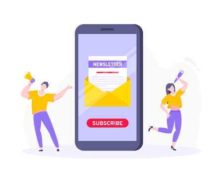 Subscribe now to our newsletter vector illustration with tiny people working with smartphone, envelope and newsletter. Email news subscription or mail marketing business flat style design concept.