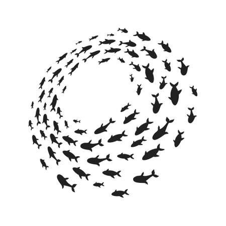 Silhouettes school of fish with marine life of various sizes swimming fish in the circle flat style design vector illustration. Colony of big and small sea animals.