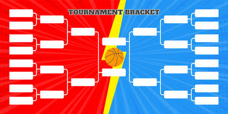 16 basketball team tournament bracket championship template flat style design vector illustration isolated on white background.
