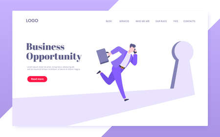 Business key opportunity concept with keyhole and ambitious woman running to career potential website landing page flat style vector illustration. New way business beginnings and unlock future.
