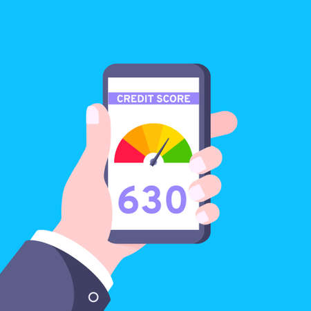 Hand holds smart phone with credit score gauge speedometer indicator. Measurement from poor to excellent rating for credit or online mortgage loans flat style vector illustration.