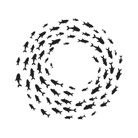 Silhouettes school of fish with marine life of various sizes swimming fish in the circle flat style design vector illustration. Ilustração