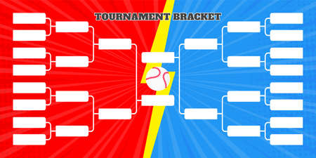 16 team tournament bracket championship template flat style design vector illustration isolated on white background. Championship bracket schedule for baseball game.
