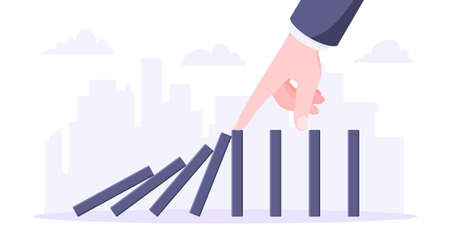 Domino effect business concept. Hand stops chain reaction of falling board game blocks of dominoes flat style vector illustration. Business bankruptcy or crisis, risk and finding solution metaphor. Ilustração