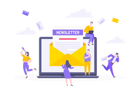 Subscribe now to our newsletter vector illustration with tiny people working with laptop, envelope and newsletter. Email news subscription or mail marketing business flat style design concept. Ilustração