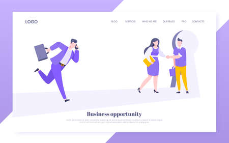 Business key opportunity concept with keyhole and ambitious man running to career potential and work financial success flat style vector illustration. New way business beginnings and unlock future. Ilustração