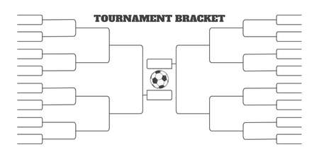 32 soccer team tournament bracket championship template flat style design vector illustration isolated on white background. Championship bracket schedule for soccer, football game spreadsheet. Ilustração