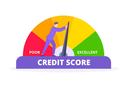 Man pushes credit score arrow gauge speedometer indicator with color levels. Measurement from poor to excellent rating for credit or mortgage loans concept flat style design vector illustration.