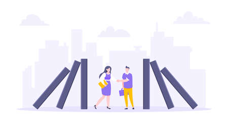 Domino effect or business resilience metaphor vector illustration concept. Business people shaking hands near falling domino line business concept of problem solving and stopping domino chain reaction