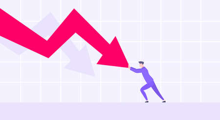 Recession loss and business bankruptcy concept. Young adult man pushed red crisis arrow downturn vector illustration. Economy crisis, investment global market risk and stock market crash metaphor.