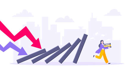 Domino effect or business resilience metaphor vector illustration concept. Adult young businesswoman run away from falling domino line business concept problem solving and danger domino chain reaction