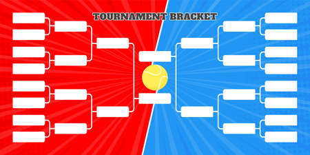 16 team tournament bracket championship template flat style design vector illustration isolated on white background. Championship bracket schedule for tennis game.
