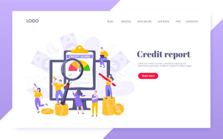 Credit score report with arrow gauge speedometer indicator with color levels on giant clipboard. Measurement from poor to excellent rating with people working together landing page. Ilustração