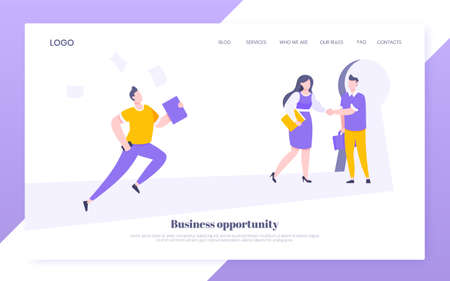 Business key opportunity concept with keyhole and ambitious man running to career potential website landing page flat style vector illustration. New way business beginnings and unlock future.
