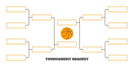 8 team tournament bracket championship template flat style design vector illustration isolated on white background. Championship bracket schedule for basketball game.