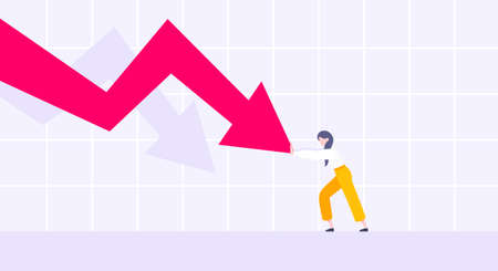 Recession loss and business bankruptcy concept. Young adult woman pushed red crisis arrow downturn vector illustration. Economy crisis, investment global market risk and stock market crash metaphor. Ilustração
