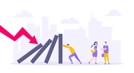 Domino effect or business resilience metaphor vector illustration concept. Adult young businessman pushing falling domino line business concept of problem solving and stopping domino chain reaction.