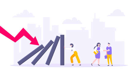 Domino effect or business resilience metaphor vector illustration concept. Adult young businesswoman pushing falling domino line business concept of problem solving and stopping domino chain reaction.
