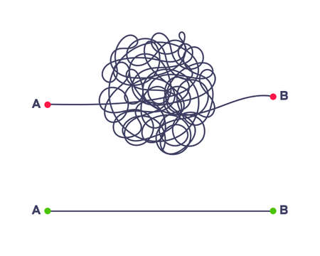 Complex and easy simple way from point A to B vector illustration. Chaos simplifying, problem solving and business solution searching challenge concept. Hand drawn doodle scribble chaos path lines. Ilustração