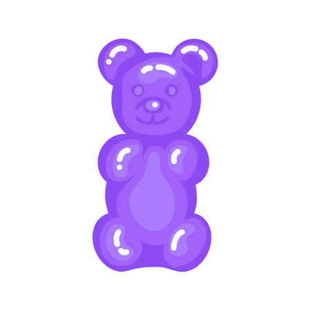 Purple gummy bear jelly sweet candy with amazing flavor flat style design vector illustration. Bright colorful jelly delicious sweets isolated on white background. Ilustração