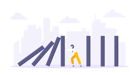 Business resilience domino effect metaphor vector illustration concept. Adult young businesswoman pushing falling domino line business concept of problem solving and stopping domino chain reaction.