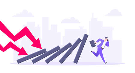 Domino effect or business resilience metaphor vector illustration concept. Adult young businessman run away from falling domino line business concept problem solving and danger domino chain reaction. Ilustração