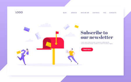 Subscribe now to our newsletter vector illustration with tiny people running toward mailbox. Email news subscription or mail marketing business flat style design landing page website template concept.