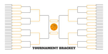 64 team tournament bracket championship template flat style design vector illustration isolated on white background. Championship bracket schedule for basketball game.
