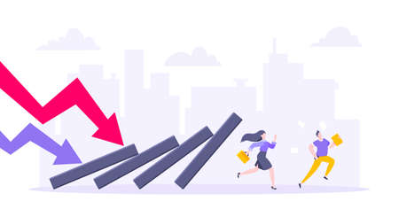 Domino effect or business resilience metaphor vector illustration concept. Adult young business people run away from falling domino line business concept problem solving danger domino chain reaction. Ilustração