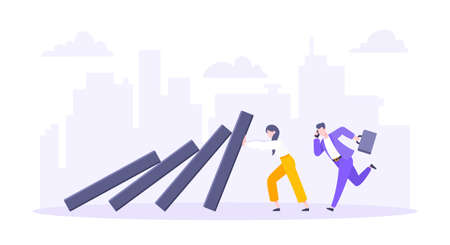 Domino effect or business resilience metaphor vector illustration concept. Adult young business people pushing falling domino line business concept of problem solving stopping domino chain reaction. Ilustração