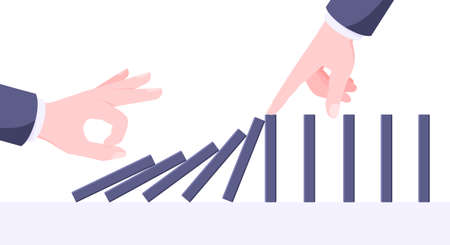 Domino effect business concept. One hand starts chain reaction of falling board game blocks of dominoes and another hand stops it flat style vector illustration. Ilustração