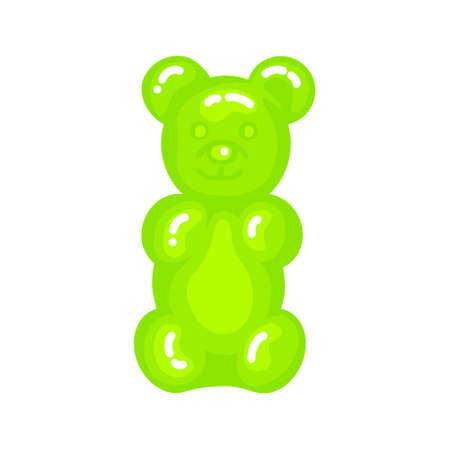 Green gummy bear jelly sweet candy with amazing flavor flat style design vector illustration. Bright colorful jelly delicious sweets isolated on white background. Ilustração