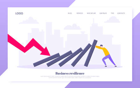 Business resilience or domino effect metaphor vector illustration website concept. Adult young businessman pushing falling domino line business concept of problem solving and stopping chain reaction