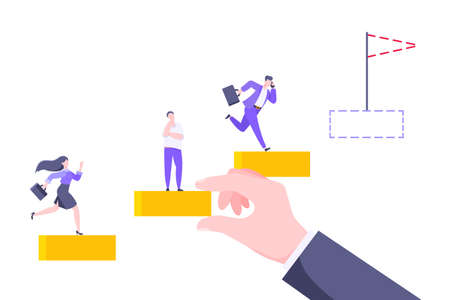 Business mentor helps to improve career and holding stairs steps vector illustration. Mentorship, upskills and self development strategy flat style design business concept.