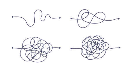 Complex and easy simple way from start to end vector illustration set. Chaos simplifying, problem solving and business solution searching challenge concept. Hand drawn doodle scribble chaos path lines