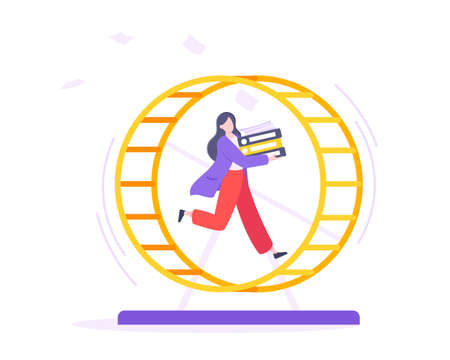 Rat race business concept with businesswoman running in hamster wheel working hard and always busy flat style design vector illustration. Tired workaholic in the loop routine trying to improve career. Vektorgrafik
