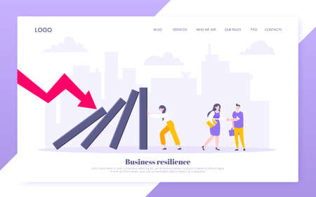 Business resilience or domino effect metaphor vector illustration website concept. Adult young businesswoman pushing falling domino line business concept of problem solving and stopping chain reaction