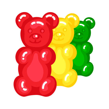 Gummy bear jelly sweet candy set with amazing flavor flat style design vector illustration.