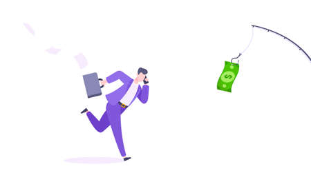 Money chase business concept with businessman running after dangling dollar and trying to catch it.