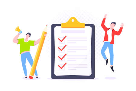 Checklist complete business concept tiny person with megaphone and pencil nearby giant clipboard, task done and check mark ticks flat style design vector illustration isolated white background. Vektoros illusztráció