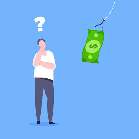 Fishing money bait with dollar banknote on the hook and uncertain young man standing in front of and thinking. Money trap or finance risks business concept flat style design vector illustration.