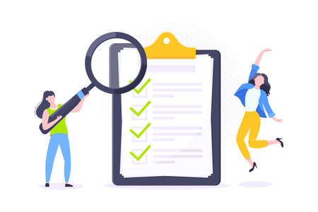 Checklist complete business concept tiny people with megaphone, magnifying glass nearby giant clipboard, task done and check mark ticks flat style design vector illustration isolated white background.