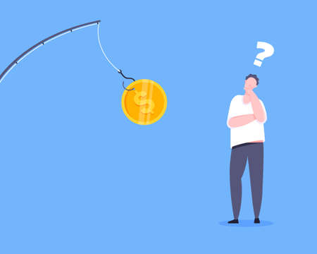 Fishing money bait with dollar coin on the hook and uncertain young man standing in front of and thinking. Money trap or finance risks business concept flat style design vector illustration.