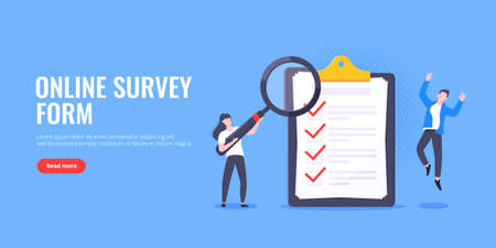 Checklist complete business concept tiny people with magnifying glass working nearby giant clipboard, task done and check mark ticks flat style design vector illustration isolated white background. Vektoros illusztráció